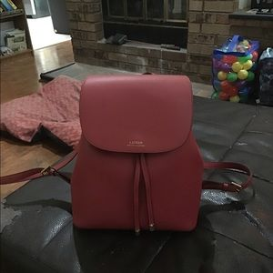 Ralph Lauren polo red leather backpack